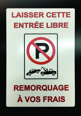 Pancarte No Parking Personnalisée imprimée sur plaque d'aluminium